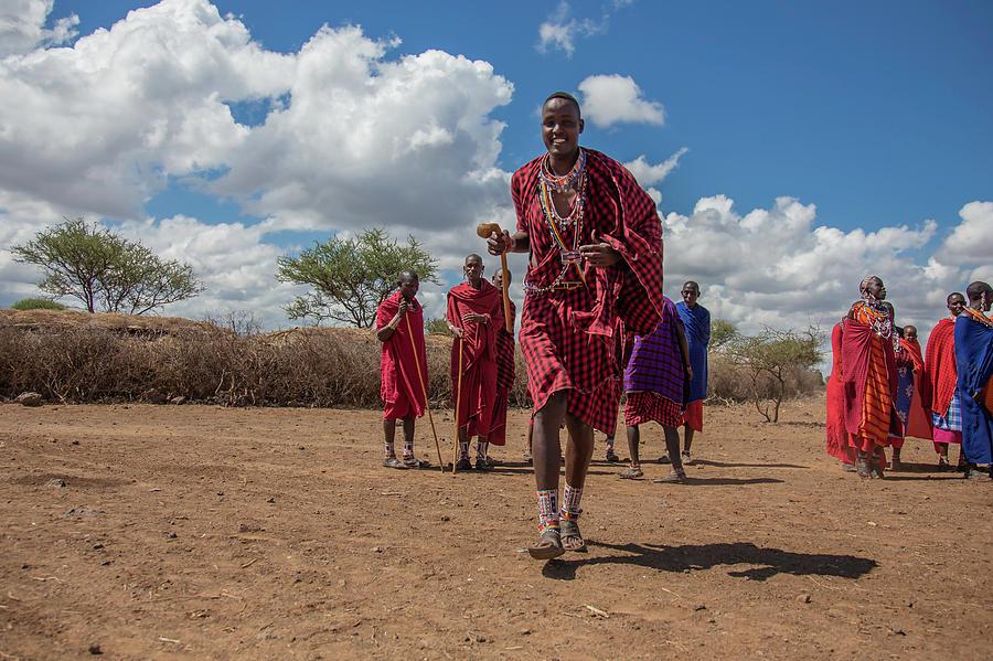 Masai Photograph - Maasai Welcome by Thomas Kallmeyer