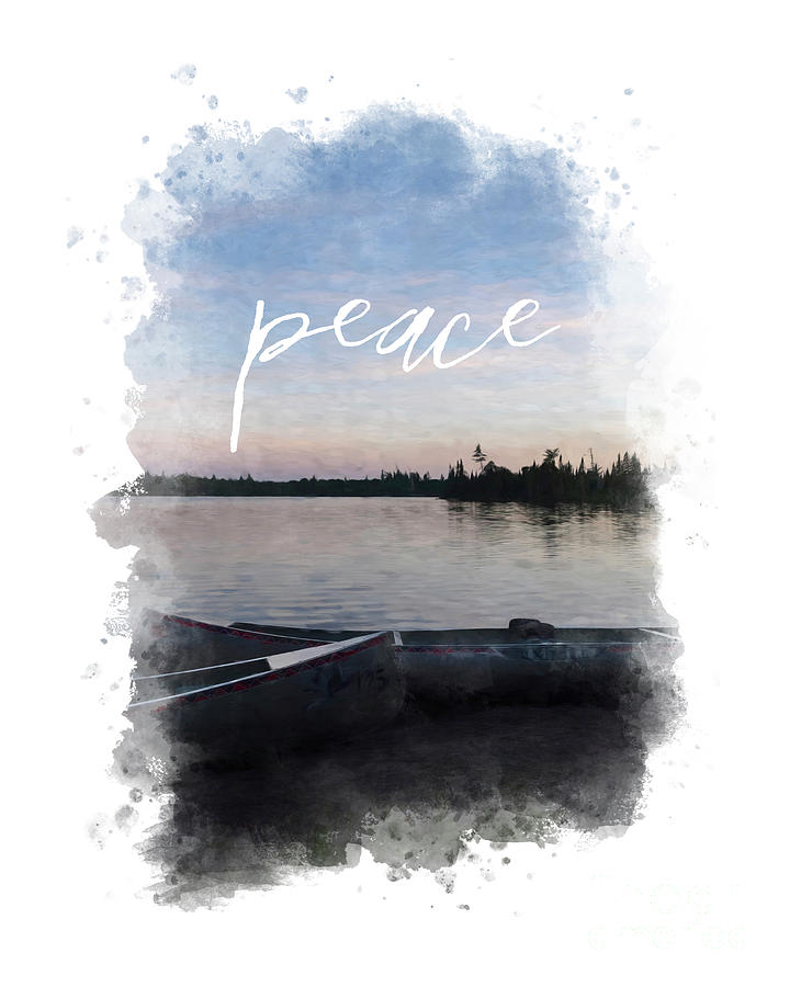 Masculine Wall Art, Peaceful Canoe at Sunset by Lake by Whitney Leigh Carlson