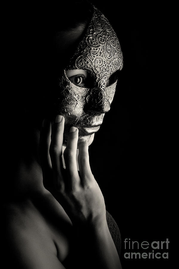 Mask in hand Fashion portrait of lady with mask Black and White by Dimitar Hristov