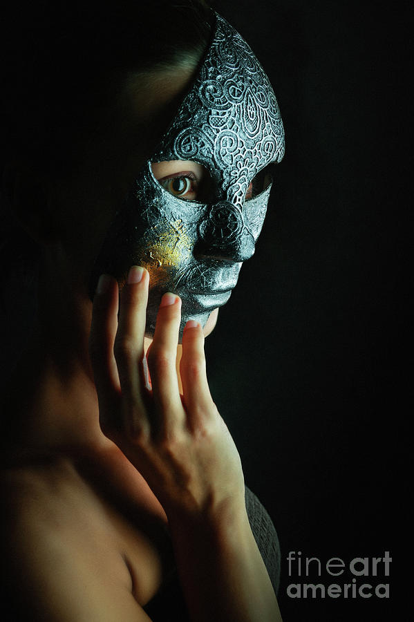 Mask in hand Fashion portrait of lady with mask by Dimitar Hristov