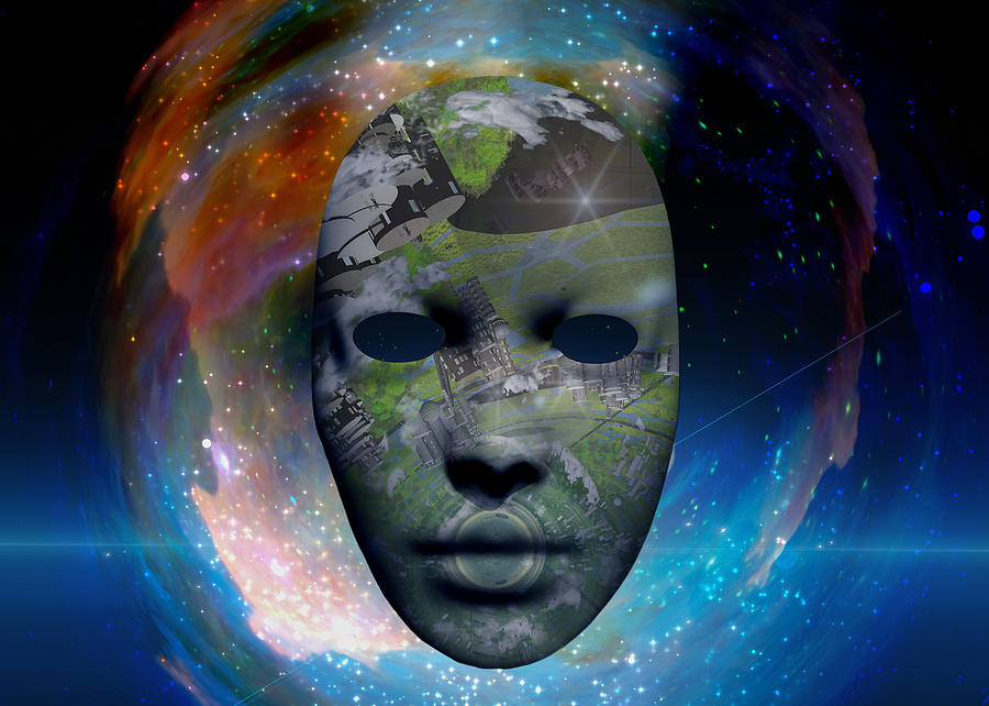 Mask In The Space Digital Art