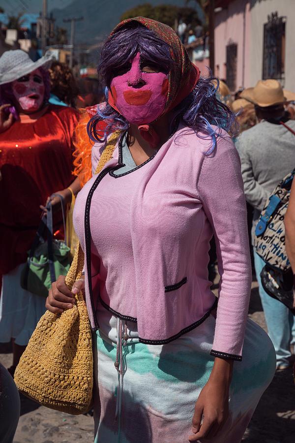 Masks Photograph - Masked Sayaca During Carnaval In Ajijic, Jalisco, Mexico by Dane Strom