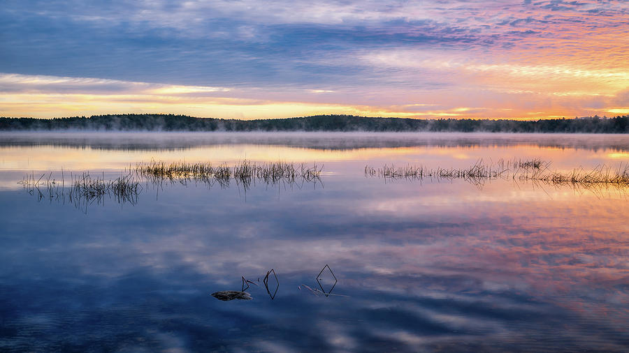 Massabesic Lake, Morning Mist by Michael Hubley