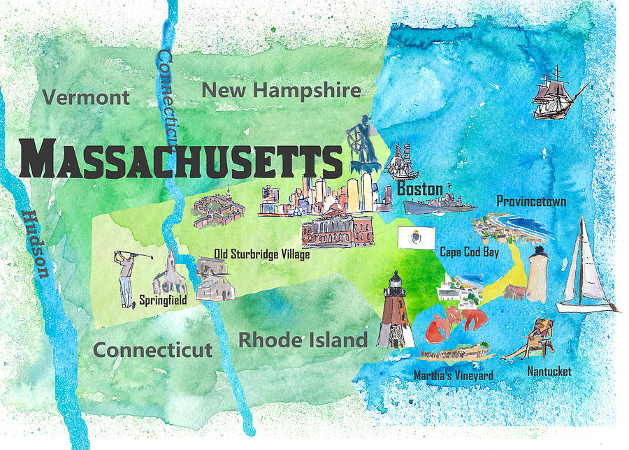 MASSACHUSETTS STATE MAP TRAVEL PIN
