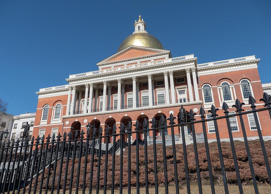 Massachusetts State House on a bright blue sky day by Kyle Lee