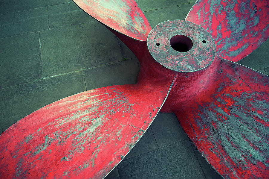 Massive Propeller Distressed Red Photograph by Peskymonkey