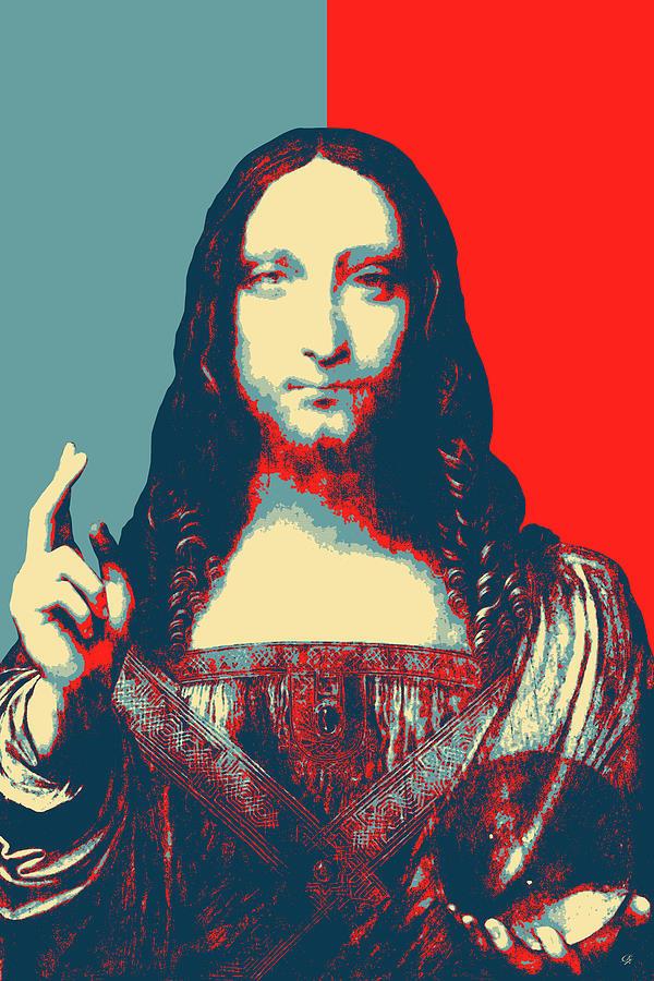 Savior Of The World Digital Art - Masterpieces Revisited - Savior Of The World By Leonardo Da Vinci by Serge Averbukh