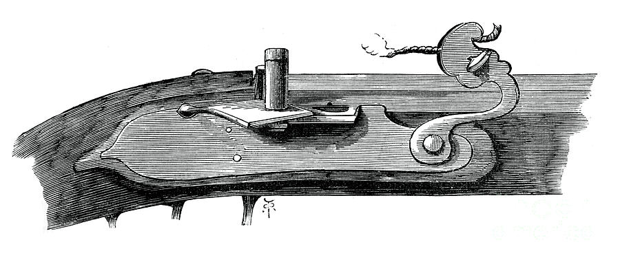 Matchlock, Late 17th Century Drawing by Print Collector