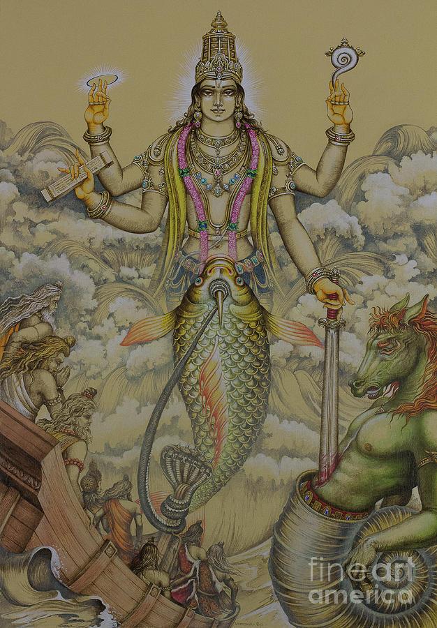 Matsya Painting - Matsya Avatar by Vrindavan Das