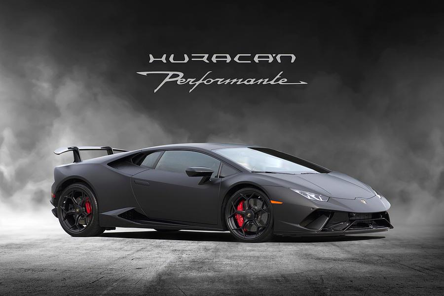 Lamborghini Digital Art - Matte Black Huracan by Peter Chilelli