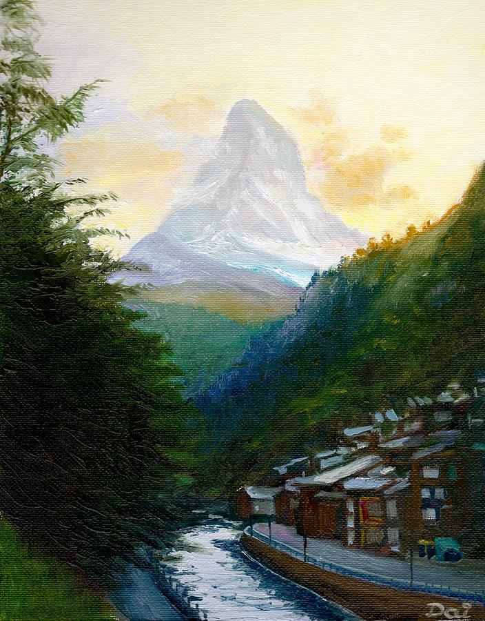 Switzerland Painting - Matterhorn And Zermatt At Dusk by Dai Wynn