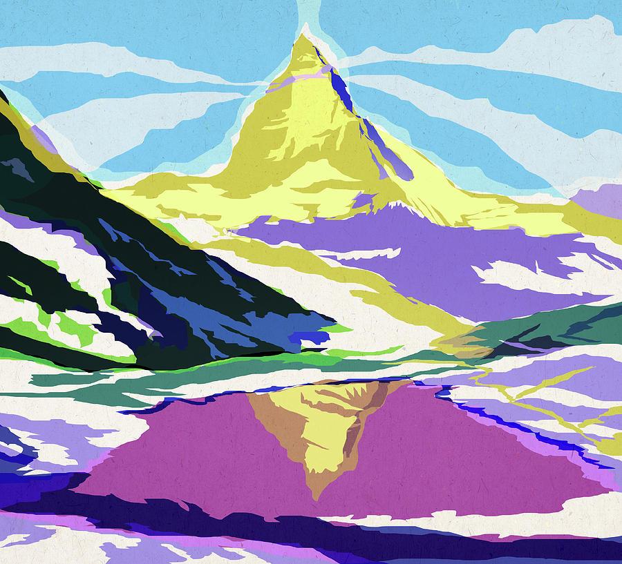 Schweiz Digital Art - Matterhorn Snow Melt by Garth Glazier