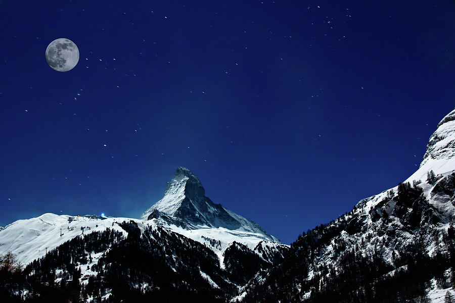 Matterhorn Switzerland Blue Hour Photograph by Maria Swärd