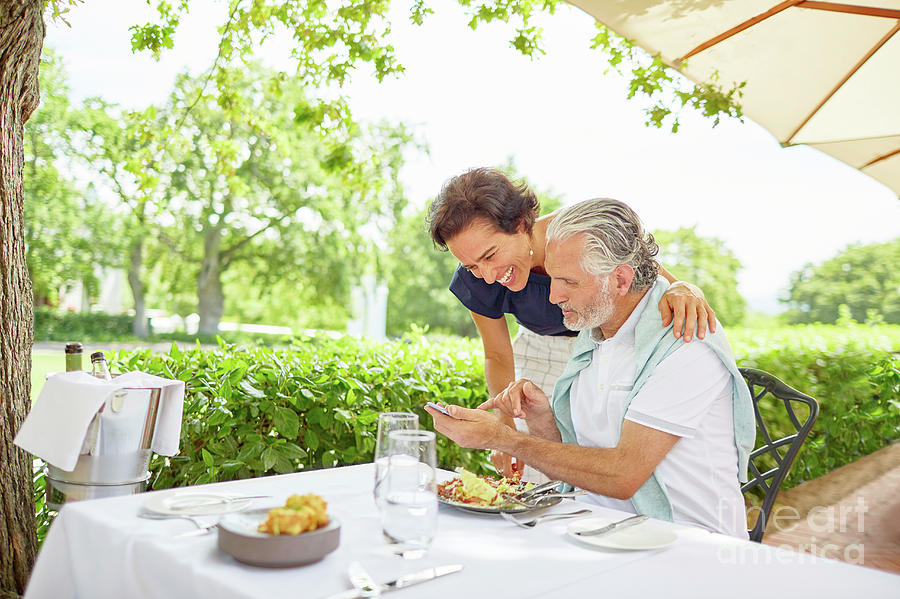 Accessibility Photograph - Mature Couple Dining by Caia Image/science Photo Library