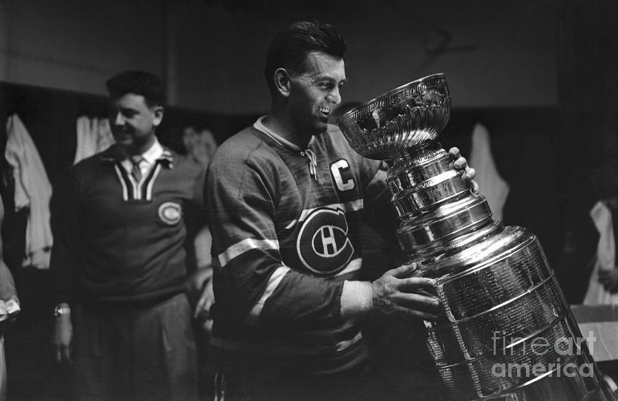 Maurice Richard Holding Stanley Cup Photograph by Bettmann
