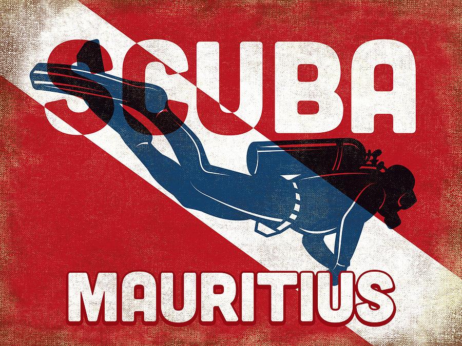Mauritius Digital Art - Mauritius Scuba Diver - Blue Retro by Flo Karp