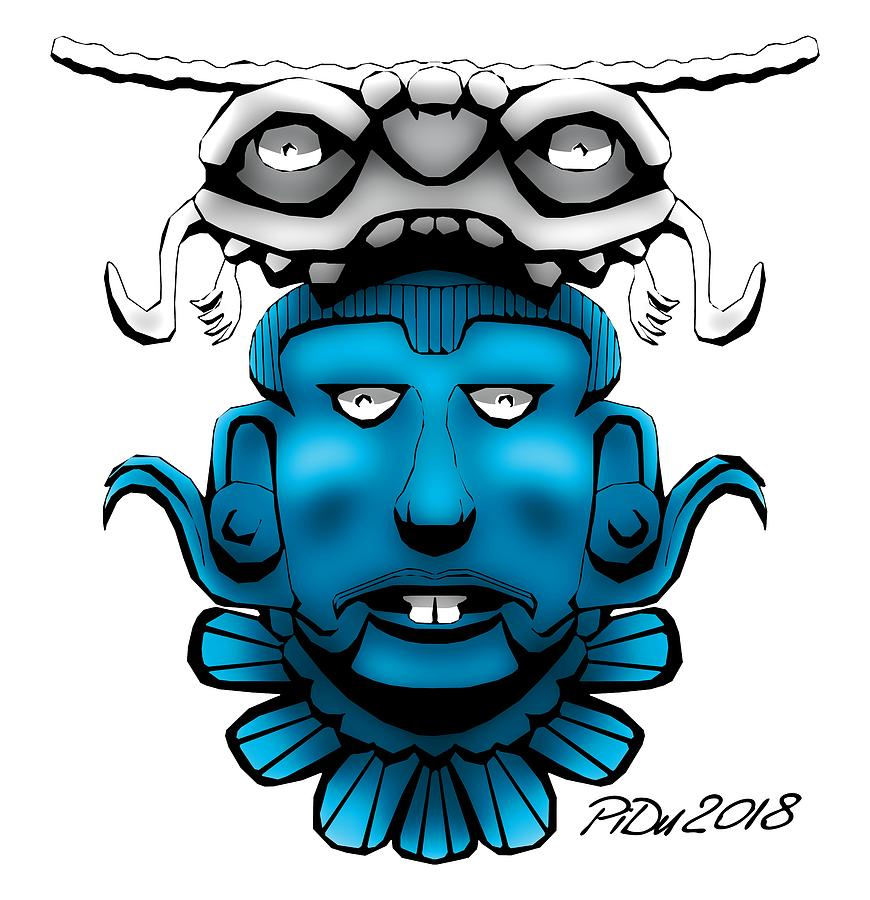 Mayan Blue Mask by Piotr Dulski