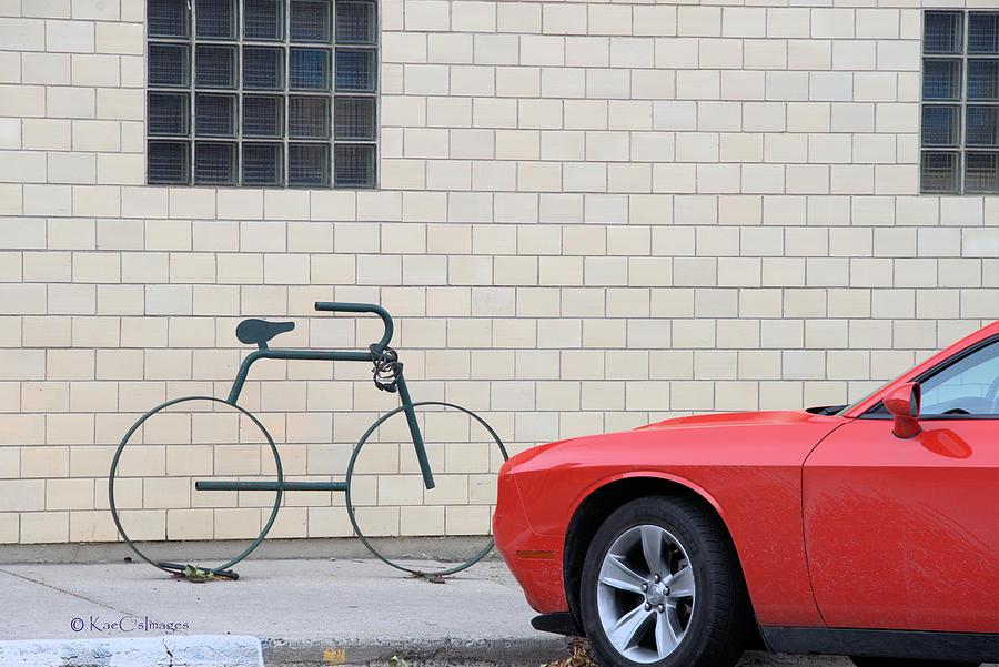 Maybe Bike and Red Car by Kae Cheatham