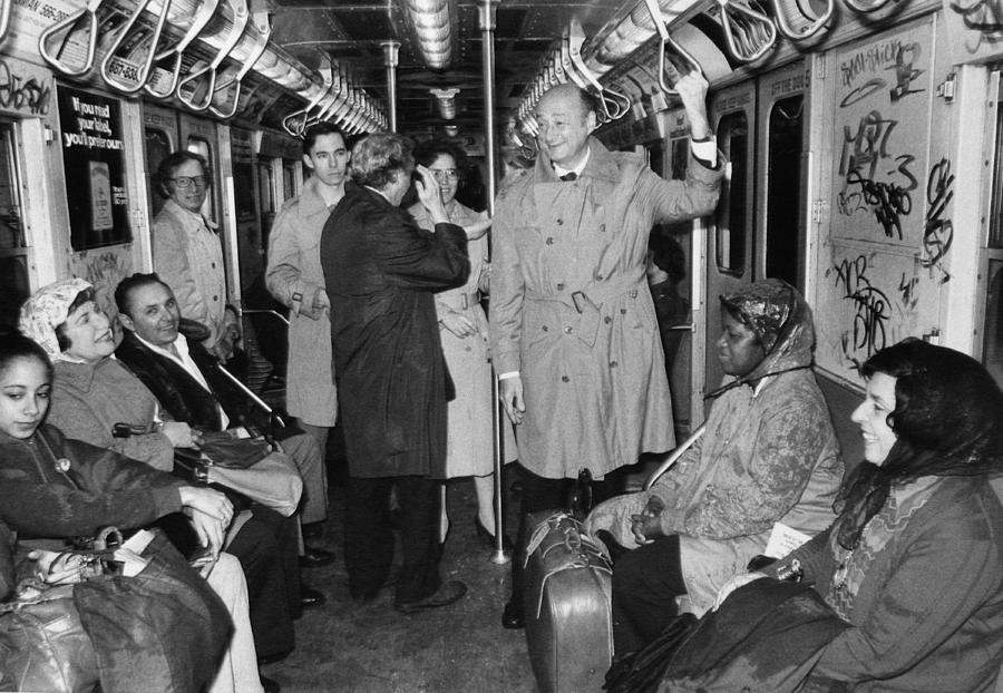 Mayor Ed Koch Rides The Subway Photograph by New York Daily News Archive