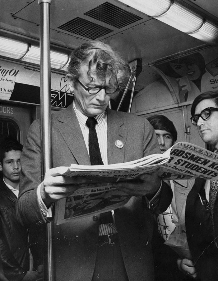 Mayor John Lindsay Reads Newspaper Photograph by New York Daily News Archive