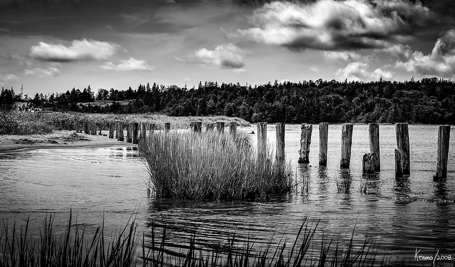 2008 Digital Art - Mccormacks Beach Provincial Park, Black And White by Ken Morris