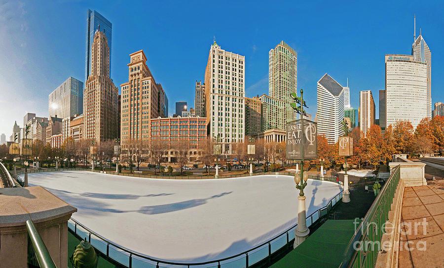 McCormick Tribune Plaza Ice Rink and skyline   by Tom Jelen