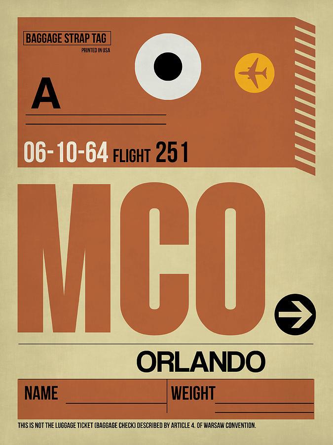 Orlando Digital Art - Mco Orlando Luggage Tag I by Naxart Studio