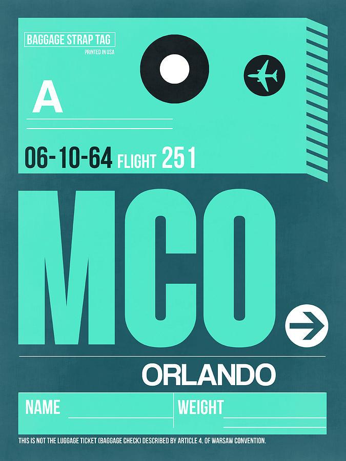 Orlando Digital Art - Mco Orlando Luggage Tag II by Naxart Studio