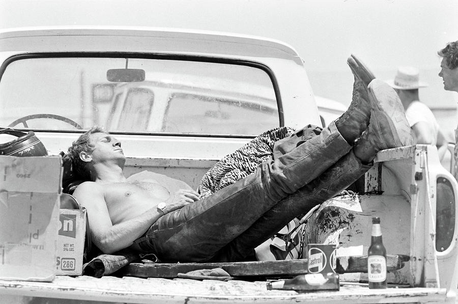 Mcqueen Asleep In Pickup Photograph by John Dominis