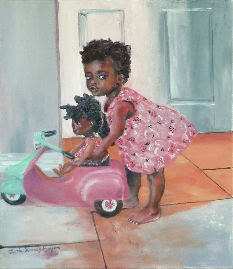 Child Portrait Painting - Me And My Dolly by Lois Bajor