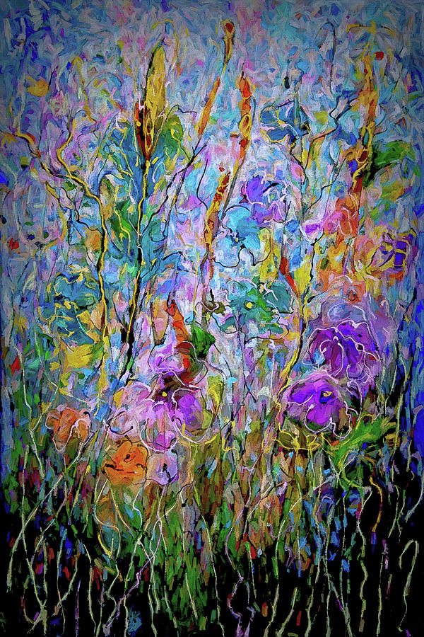 Meadow Flowers and Grass Abstract by OLena Art by OLena Art Brand