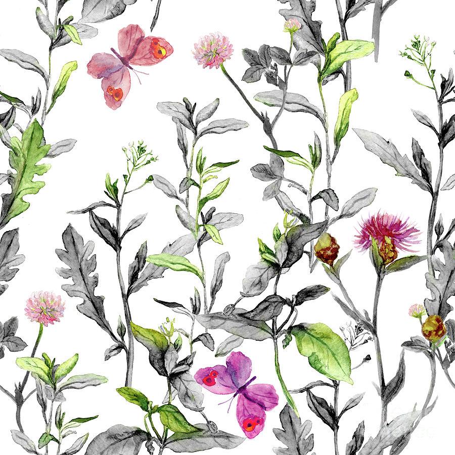 Meadow Flowers. Seamless Herbal Digital Art by Zzorik