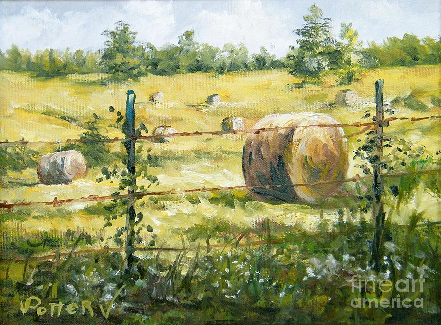 Meadow with Hay Bales by Virginia Potter