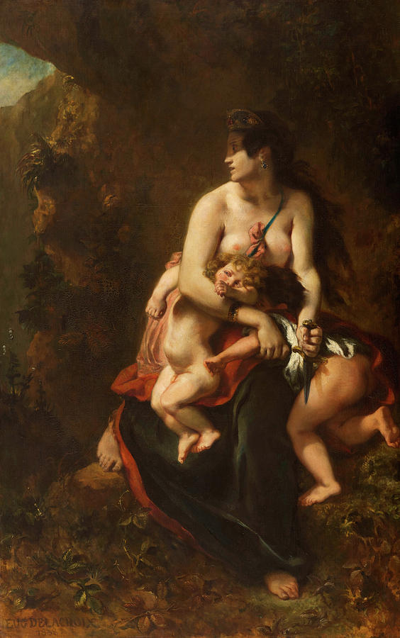 Eugene Delacroix Painting - Medea About To Kill Her Children, 1838 by Eugene Delacroix