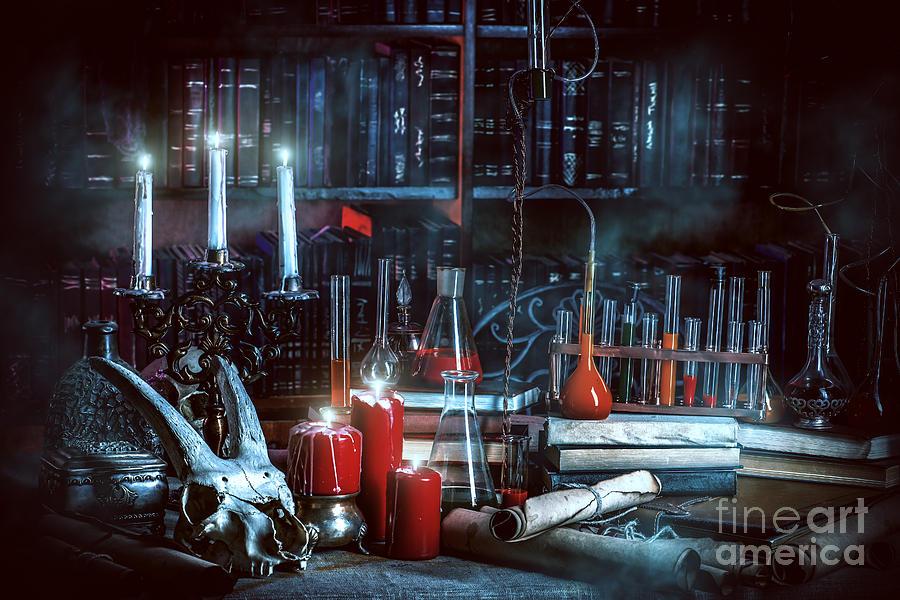 Magic Photograph - Medieval Alchemist Laboratory by Kiselev Andrey Valerevich