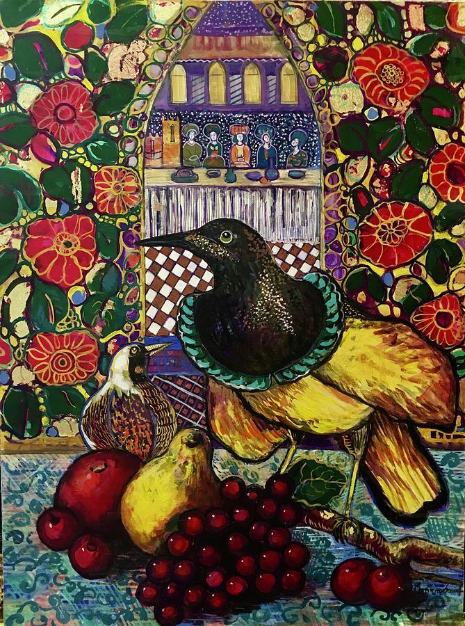 Crow Painting - Medieval dinner by Marilene Sawaf