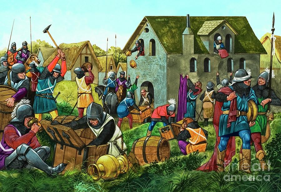Medieval Soldiers Looting And Pillaging by Richard Hook