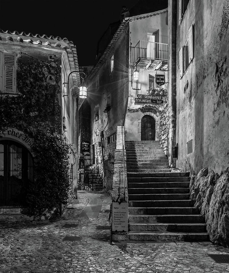 Medieval Village of Eze, Provence - Black and White - Series 10 of 16 by Carl Amoth