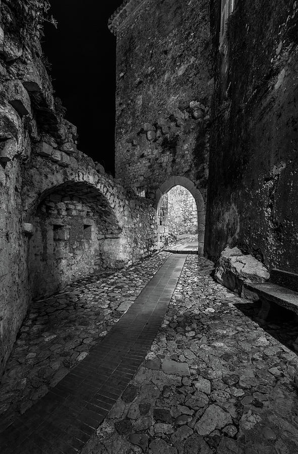 Medieval Village of Eze, Provence - Black and White - Series 13 of 16 by Carl Amoth