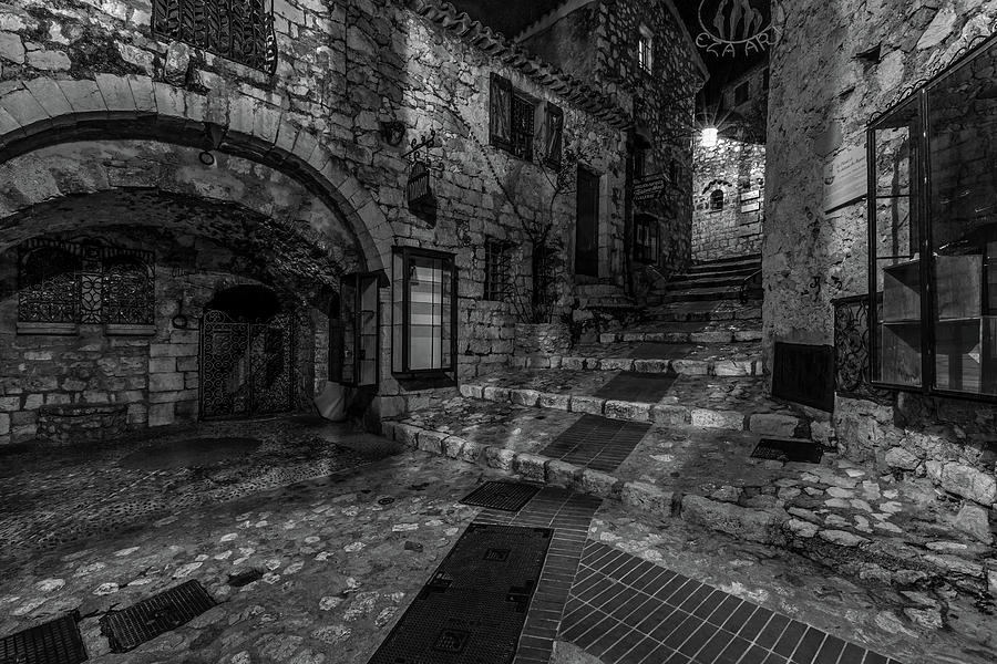 Medieval Village of Eze, Provence - Black and White - Series 7 of 16 by Carl Amoth