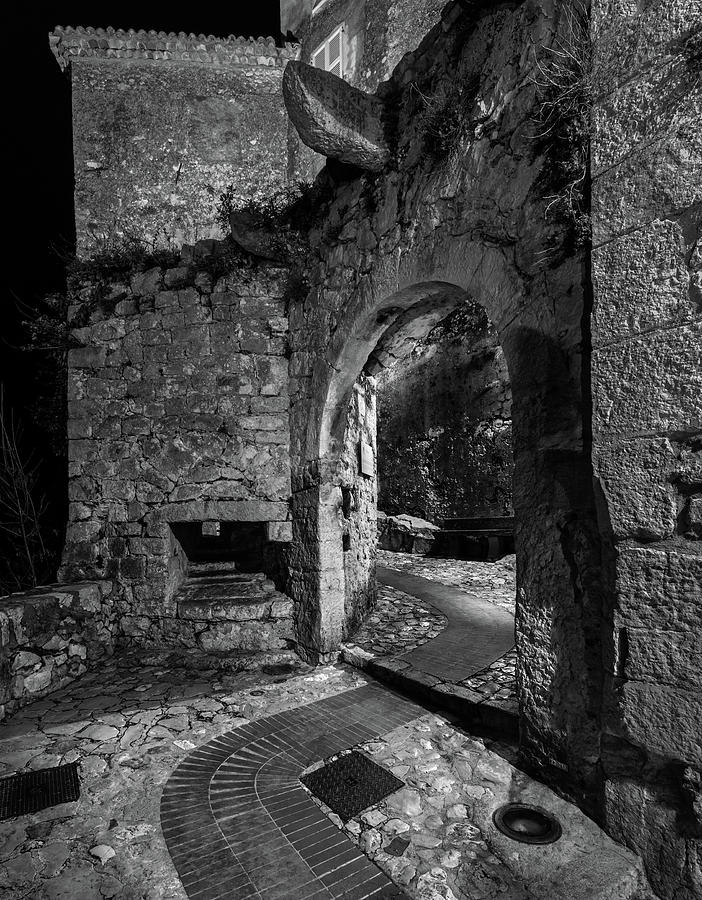 Medieval Village of Eze, Provence - Black and White - Series 9 of 16 by Carl Amoth