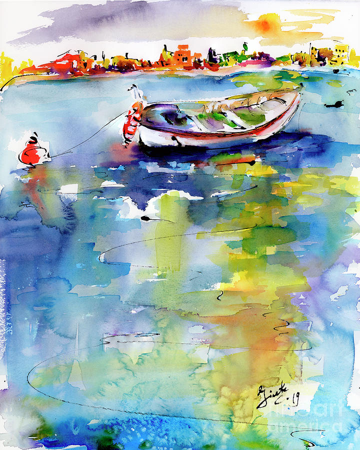 Mediterranean Impressions Boat by Ginette Callaway