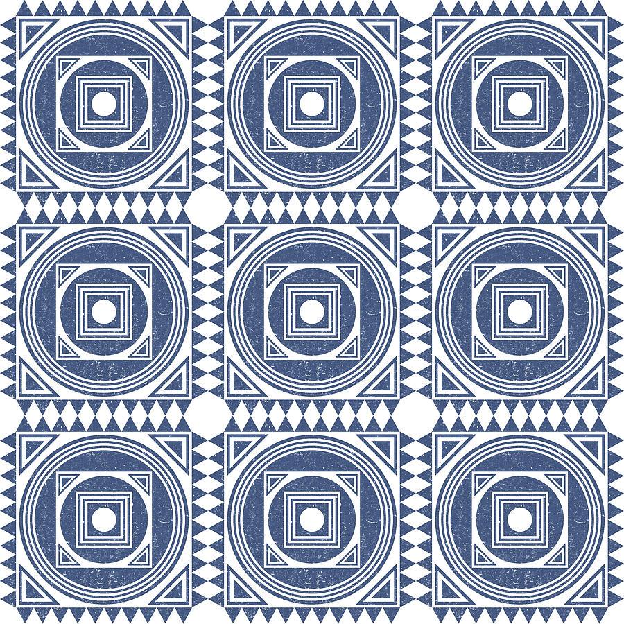 Mediterranean Pattern 1 - Tile Pattern Designs - Geometric - Blue - Ceramic Tile - Surface Pattern Mixed Media