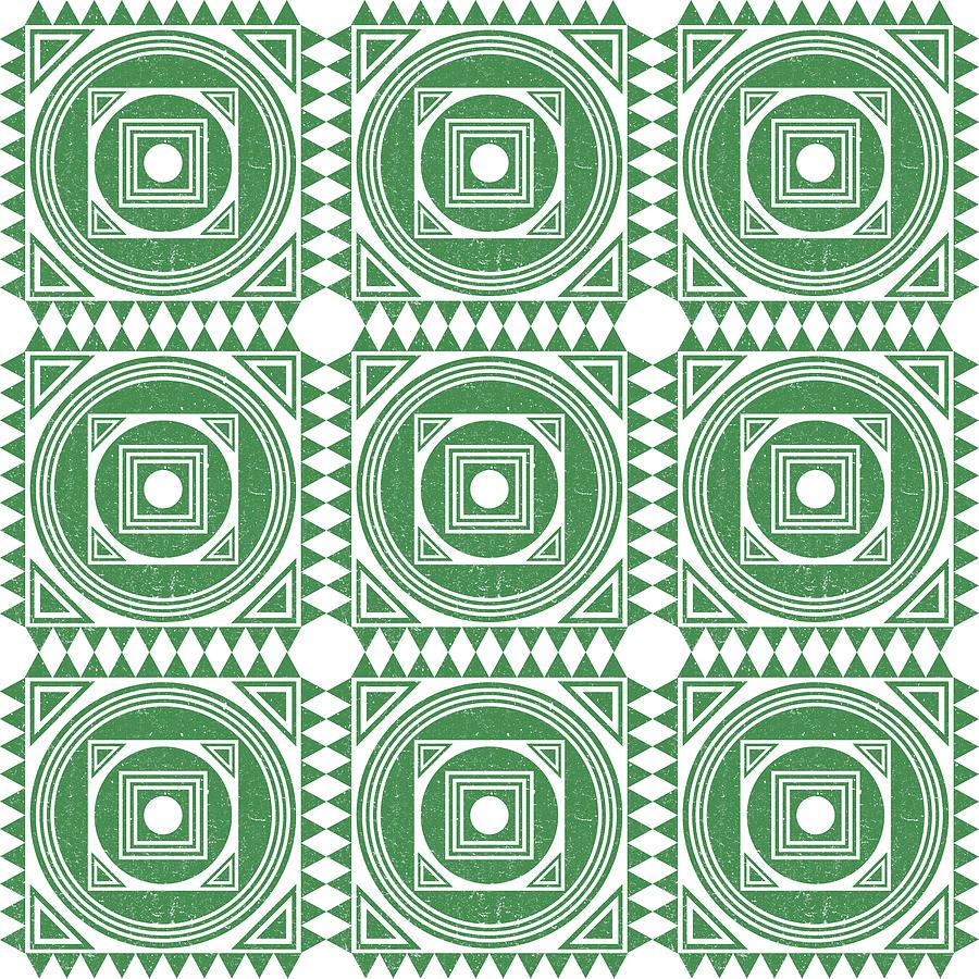 Mediterranean Pattern 2 - Tile Pattern Designs - Geometric - Green - Ceramic Tile - Surface Pattern Mixed Media