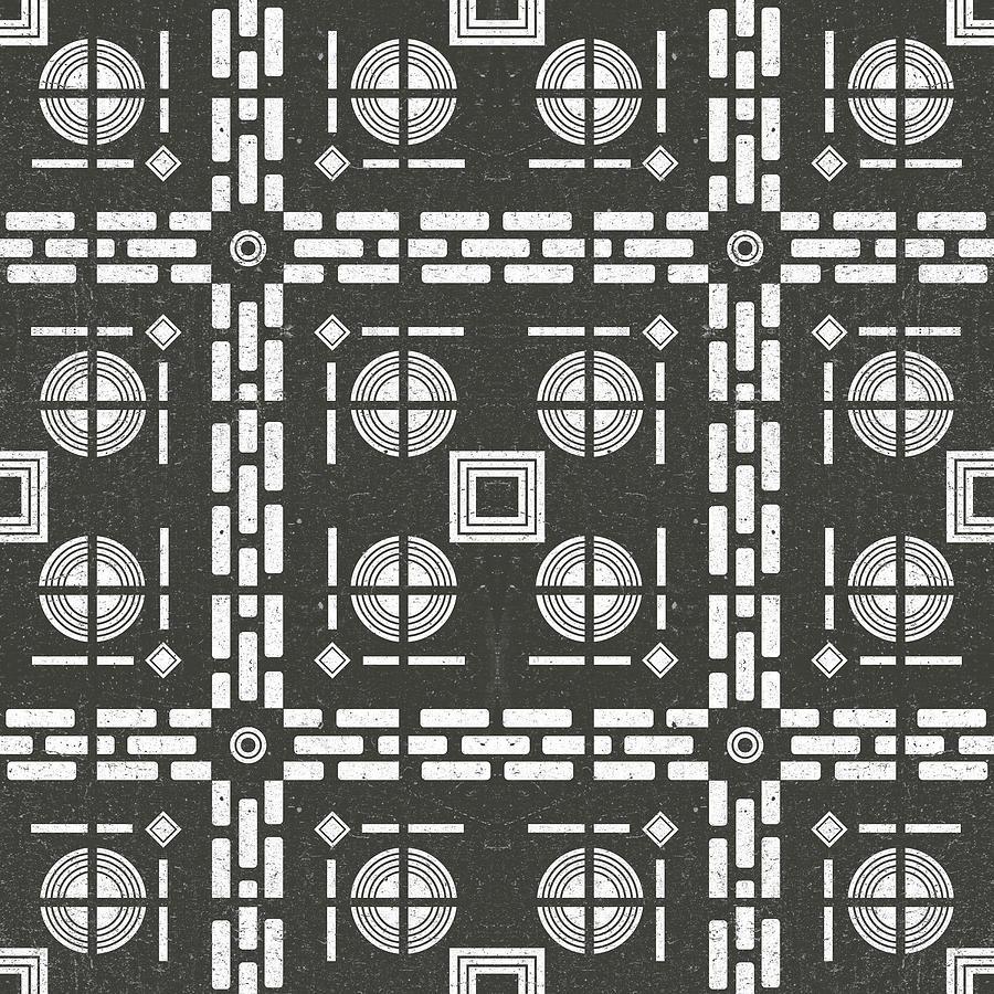 Mediterranean Pattern 10 - Tile Pattern Designs - Geometric - Grey - Ceramic Tile - Surface Pattern Mixed Media