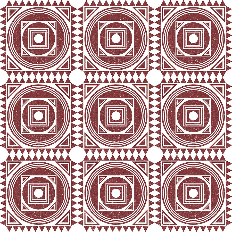 Mediterranean Pattern 3 - Tile Pattern Designs - Geometric - Maroon - Ceramic Tile - Surface Pattern Mixed Media