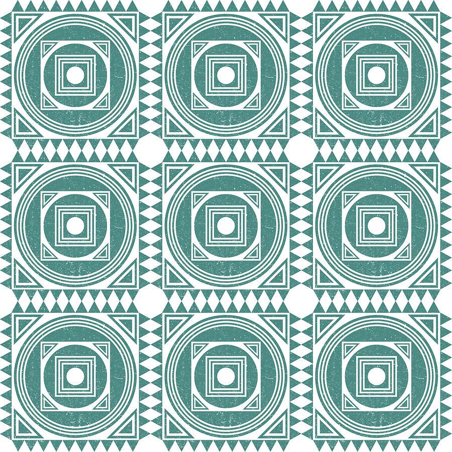 Mediterranean Pattern 4 - Tile Pattern Designs - Geometric - Teal - Ceramic Tile - Surface Pattern Photograph