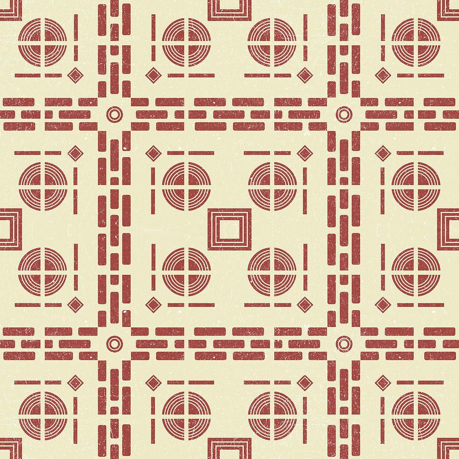 Mediterranean Pattern 8 - Tile Pattern Designs - Geometric - Red - Ceramic Tile - Surface Pattern Mixed Media