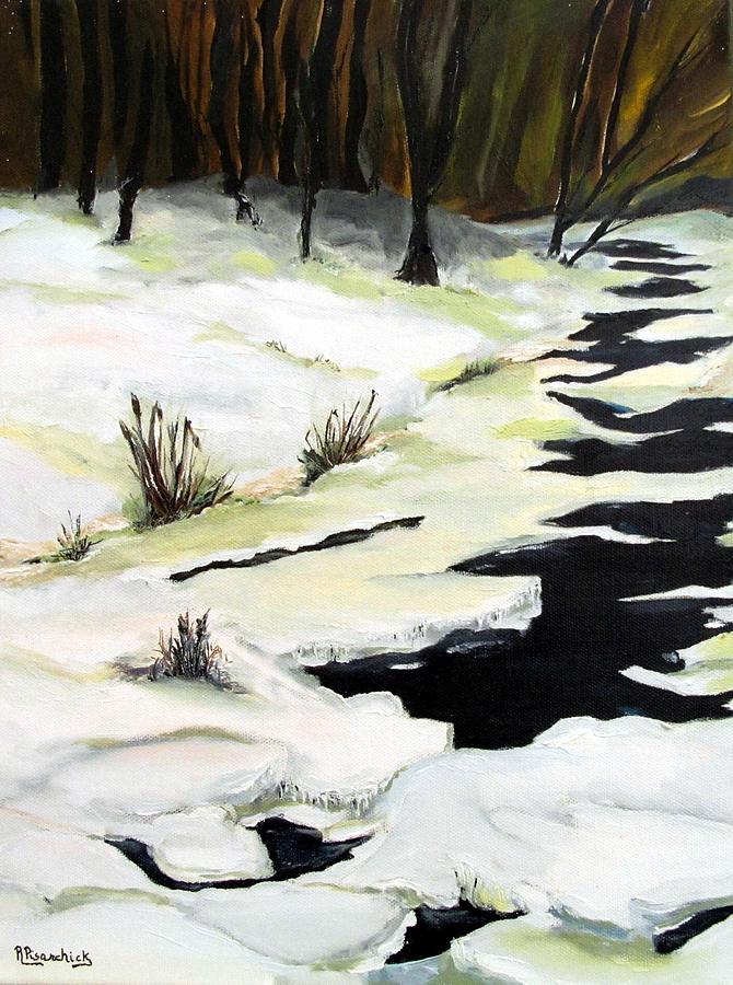 Landscape Painting - Medix Run In Winter by Rosita Pisarchick