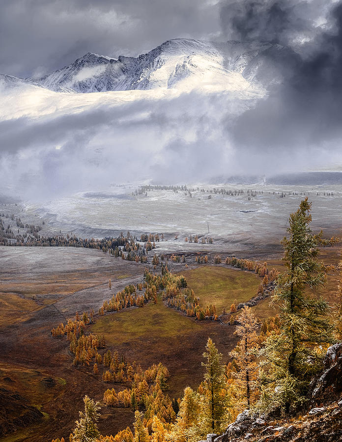 Landscape Photograph - Meeting Autumn With Winter (altai) by Anna Pakutina